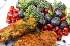 Vegetarian food. Vegetable cutlets from red lentils, onions, parsley and oatmeal. With salad of broccoli, pomegranate seeds and bl. Ueberries a variety of royalty free stock photo