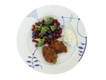 Vegetarian food. Vegetable cutlets from red lentils, onions, parsley and oatmeal. With salad of broccoli, pomegranate seeds,  blue. Berries and cottage cheese stock image