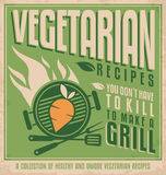 Vegetarian food vintage poster design. Concept. Retro banner template for vegan restaurant on old paper texture Royalty Free Stock Photos