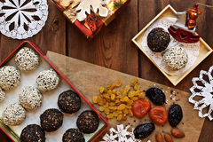 Vegetarian foods. festive New Year`s table. Royalty Free Stock Images