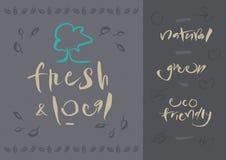 Vegetarian - Fresh & Local - Calligraphy Stock Photography