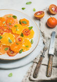Vegetarian Fresh mixed citrus fruit salad with mint and honey Stock Photo