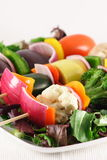 Vegetarian fresh skewers. Exquisite vegan skewers made with prime organic produce Royalty Free Stock Photo