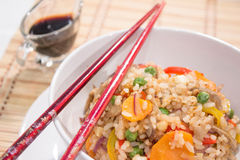Vegetarian Fried rice with sticks. Vegetarian Fried rice - chinese food Royalty Free Stock Photo