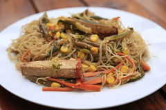Vegetarian Garden Stir fry. Garden stir fry with rice noodles and tofu Royalty Free Stock Images