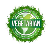 Vegetarian green seal illustration design. Over a white background Royalty Free Stock Photos