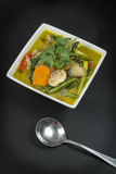 Vegetarian Green Thai Curry Stock Images