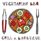 Vegetarian Grill. Vegetable BBQ. Picnic and Barbeque Appliances Tongs and Fork. Tomato, Bell Pepper, Onion, Garlic and Zucchini. V. Egan Outdoor Party. Hand vector illustration
