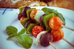 Vegetarian grilled with brown mushrooms, cherry tomatoes Stock Image