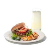 Vegetarian hamburger with lemonade Stock Photos