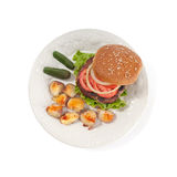 Vegetarian hamburger with lemonade Royalty Free Stock Image