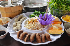 Vegetarian health hot pot Stock Photo