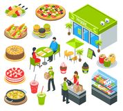 Vegetarian Healthy Cafe Isometric Set. Vegetarian natural healthy food cafe isometric icons set with waiter serving tasty dishes and desserts vector illustration Stock Photos
