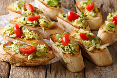 Vegetarian healthy sandwiches with grated zucchini, oregano and Royalty Free Stock Photos