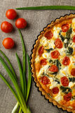 Vegetarian homemade pie, Quiche with tomatoes, spinach and feta cheese. Stock Photography