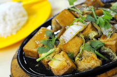 Vegetarian hot plate bean curd cuisine Stock Photos