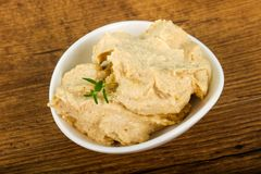 Humus. Vegetarian Humus with sesame seeds and thyme leaves Royalty Free Stock Photos