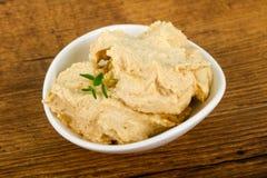 Humus. Vegetarian Humus with sesame seeds and thyme leaves Stock Images
