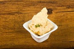 Humus. Vegetarian Humus with sesame seeds and thyme leaves Stock Image