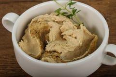Humus. Vegetarian Humus with sesame seeds and thyme leaves Royalty Free Stock Images