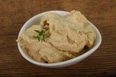 Humus. Vegetarian Humus with sesame seeds and thyme leaves Stock Photo