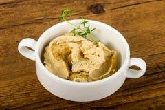 Humus. Vegetarian Humus with sesame seeds and thyme leaves Royalty Free Stock Photo