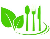 Vegetarian icon with leaves. And fork, spoon, knife Stock Photos