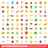 100 vegetarian icons set, cartoon style. 100 vegetarian icons set in cartoon style for any design vector illustration Royalty Free Stock Image