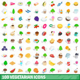 100 vegetarian icons set, isometric 3d style. 100 vegetarian icons set in isometric 3d style for any design vector illustration Stock Image