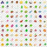 100 vegetarian icons set, isometric 3d style. 100 vegetarian icons set in isometric 3d style for any design vector illustration royalty free illustration