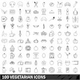 100 vegetarian icons set, outline style. 100 vegetarian set in outline style for any design vector illustration Stock Photos