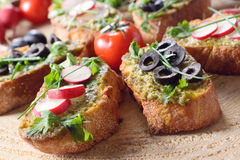 Vegetarian Italian bruschettas Royalty Free Stock Image