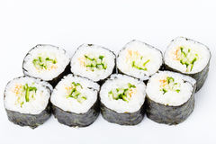 Vegetarian japanese sushi roll with cucumber. Stock Image