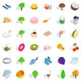 Vegetarian kitchen icons set, isometric style Royalty Free Stock Images