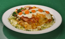 Vegetarian lasagna. On plate with spices Royalty Free Stock Photography