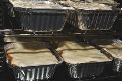 Vegetarian lasagne. Home made vegetarian lasagnes cooking in oven Stock Images