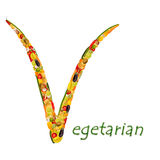 Vegetarian Letters of fruits and vegetables Royalty Free Stock Photo