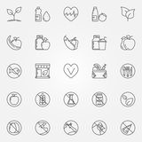 Vegetarian line icons set. Vector food signs. Vegan and vegetarian food symbols or logo elements in thin line style Royalty Free Stock Photography