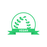 Vegetarian logo. Green food symbol. Vector label. Vegetarian logo. Green food symbol. Organic menu. Vector label Stock Photography
