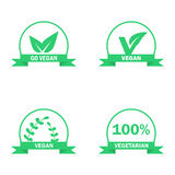 Vegetarian logos set. Green food symbols. Vector labels Royalty Free Stock Photography