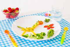 Vegetarian lunch for kids, vegetables and fruit se Royalty Free Stock Photography