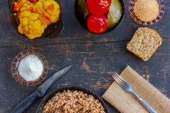 Vegetarian lunch in the village Royalty Free Stock Photo