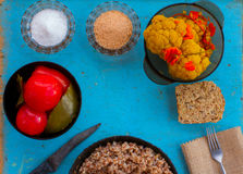 Vegetarian lunch in the village Stock Photography