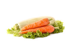 Vegetarian marrow, carrots and green salad Stock Image