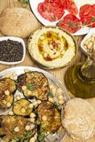 Vegetarian meal with hummus royalty free stock image
