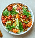 Vegetarian chickpea salad. Nutritious, vegetables. royalty free stock photo
