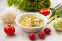 Vegetarian meal. Vegetable and mushroom soup in the spring Royalty Free Stock Photography