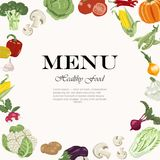 Vegetarian meals are available. Vegetable background with an inscription in the center Royalty Free Stock Photo