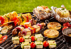 Vegetarian meat alternatives on cookout grill Stock Photo