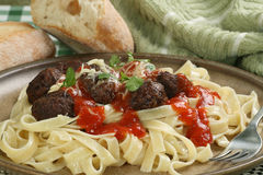Vegetarian meatball tagliatelli Royalty Free Stock Photography